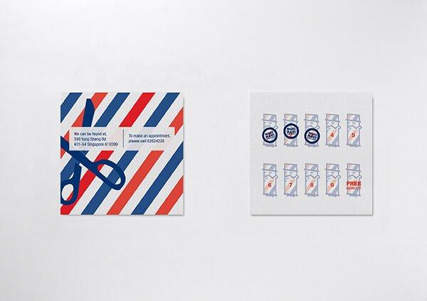 剪髮店集點卡的尺寸比普通的卡片大,而且是用了白卡來印刷成品相當吸引。